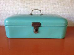 Large Antique Turquoise Blue Enamel Bread by greencycledesignLA, $150.00