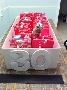30 presents for the 30 days before a birthday! 30 presents for the 30 days before a birthday! 30 Gifts, Party Gifts, Craft Gifts, Cool Gifts, 30th Birthday Presents, 30th Birthday Parties, It's Your Birthday, Birthday Ideas, Happy Birthday