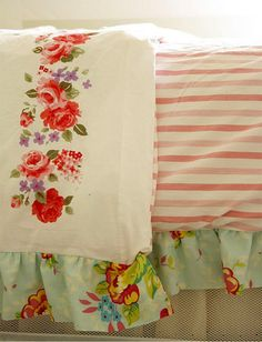 Vintage sheets sewn into duvet cover. love the ruffle