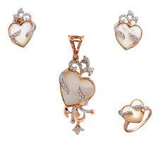 """Beauteous Jewelry Set of """"Heart Shape"""" Pendant, Earrings & Ring, Sterling Silver #FacetsJewels"""
