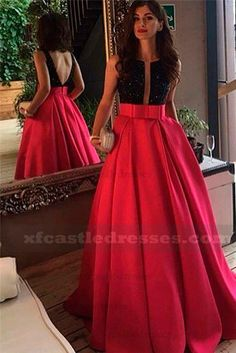 2017 Beaded Satin Ball Gown Prom Dresses Backless GRTBZQ203