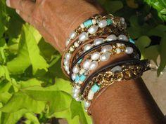Boho Pearl DeluxeEndless LeatherWrap Bracelet by fleurdesignz, $38.00