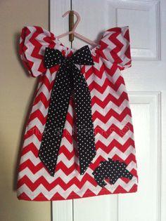 Arkansas Razorback Chevron Peasant Dress
