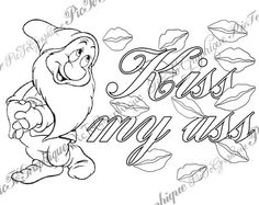 """Coloring Page """"Kiss my ass"""" from Sweary Colouring Book Vol 1 - Swearing background white and black - naughty coloring book by PicToGraphique on Etsy Swear Word Coloring Book, Quote Coloring Pages, Printable Adult Coloring Pages, Coloring Books, Coloring Sheets, Word Doodles, Fairy Coloring, Kiss, Heart Doodle"""