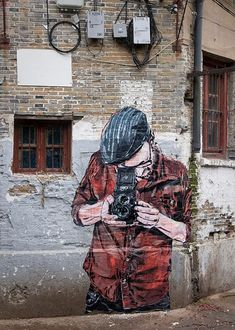 Illustration of Photographer. Best Street Art, Amazing Street Art, 3d Street Art, Fantastic Art, Street Artists, Grafitti Street, Murals Street Art, Mural Art, Street Installation