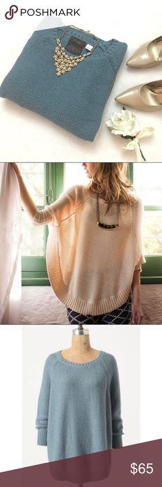 ANTHROPOLOGIE Sweeping Stitches Pullover Sweater ANTHROPOLOGIE Sweeping Stitches Pullover Sweater Poncho by Guinevere. Size medium. Color is a dusty blue color. Gorgeous and roomy oversized slouchy fit. Wool/nylon/alpaca. Anthropologie Sweaters Shrugs & Ponchos