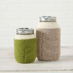 Free knitting pattern for Spring Sprouts Mason Jar Covers and more household knitting patterns