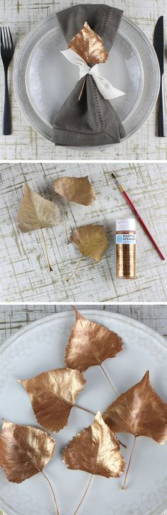 Painted Leaf Place Settings | DIY Thanksgiving Decorations on a Budget | DIY Holiday Decorations for Kids