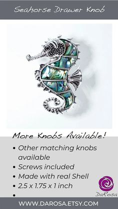 Seahorse Knobs with Pearl in Silver for Coastal Decor image 8