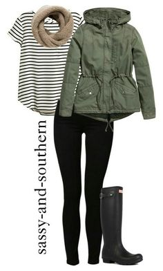 Cindy rainy day. Striped tee, beige scarf, green jacket, black leggings/jeans, black raining boots.