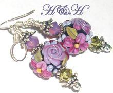 Heather Davis Floral Short Lampwork Earrings
