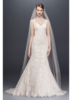 Oleg Cassini Corded Lace Trumpet Wedding Dress 4XLCWG747