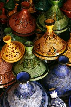 colorful tagines in Marrakech Moroccan Design, Moroccan Decor, Moroccan Style, Moroccan Colors, Moroccan Bathroom, Moroccan Lanterns, Moroccan Interiors, Ceramic Pottery, Ceramic Art