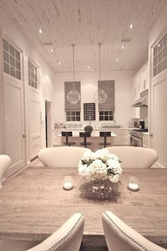 White Kitchen, love the pendant lights Style At Home, Ceiling Treatments, Interior Decorating, Interior Design, Beautiful Kitchens, Home Fashion, My Dream Home, Home Kitchens, Sweet Home