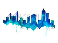 Boston Skyline Watercolor Painting Print - Home decor and scenic wall art Boston aqua and blue artwork