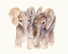 Baby Elephants print 8 X 10 from original watercolor on Etsy, $12.00