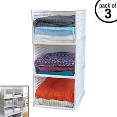 Amazon Com Uncluttered Designs Stackable Folding Shelves 3 Set Customizable For Your Storage Needs Free Standing In 2020 Unclutter Shelves Towel Rack Bathroom