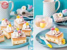 Ostern-Torte-Ostereier-Blumen-Käse-Sahneschnitte-Eiernest