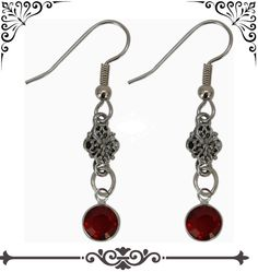 Red Siam Swarovski Crystal Earrings designed by Classic Legacy