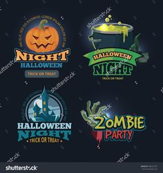 Set Of Isolate On Dark Background… Halloween Trick Or Treat, Halloween Party, Zombie Party, Dark Backgrounds, Image Collection, Lorem Ipsum, Badges, Cool Words, Sticker
