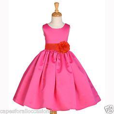 Fuchsia Hot Pink Orange Pageant Wedding Flower Girl Dress 2 3 3T 4 5T 6 7 8 9 10 | eBay