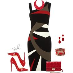 A fashion look from April 2016 by pkoff featuring Christian Louboutin, Christian Dior, Amrita Singh, Humble Chic, Kenneth Jay Lane and Karen Millen Diva Fashion, Fashion Looks, Classy Wear, Beautiful Outfits, Beautiful Clothes, Colorblock Dress, Work Attire, Dress Me Up, Polyvore Fashion