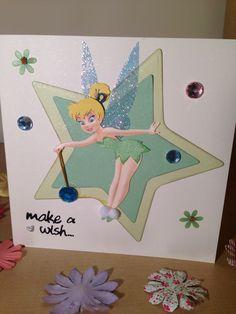 Handmade Tinkerbell card Tinkerbell And Friends, Tinkerbell Fairies, Girl Birthday Cards, Bday Cards, Disney Cards, Disney Fun, Fun Cards, Kids Cards, Disney Scrapbook