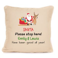 Santa Stop Here Personalised Christmas Decoration Cushion With Pad Included Personalised Christmas Decorations, Reusable Tote Bags, Cushions, Santa, Ebay, Throw Pillows, Cushion, Pillows