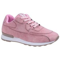 Pink 36 Solid Color Lace-Up Sport Shoes (€16) ❤ liked on Polyvore featuring shoes, laced up shoes, laced shoes, lace up shoes and pink shoes