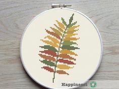 cross stitch pattern fern, modern cross stitch, fall, woodland, leave PDF pattern ** instant download**
