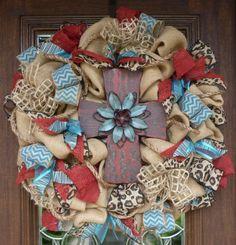 BURLAP and RUSTIC CROSS Wreath by decoglitz on Etsy