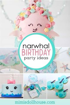 Delightful Narwhal Birthday Party Ideas Adorable Narwhal Party Supplies and Ideas for a gorgeous party!Mystical sea creatures and glitter lovers rejoice! This unicorn of the. Girl Birthday Decorations, Girls Birthday Party Themes, First Birthday Parties, First Birthdays, Girl Parties, 5th Birthday, Birthday Ideas, Winter Birthday, Diy Party
