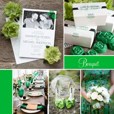 "#Wedding Inspiration featuring Evermine's ""Bouquet"" Invitation Collection in green."