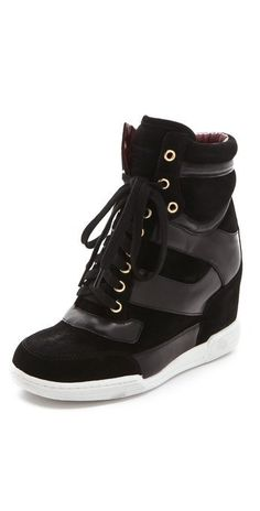 22853364f05 its a high heel and a sneaker!!! Black Wedge Sneakers