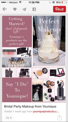 Perfect for bridal showers, bachelorette parties, weddings. Gifts for your bridal party. Younique products. Earn free & half price make up for your wedding.