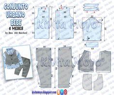 KiVita MoYo : CONJUNTO URBANO DE BEBE - 6 meses Baby Clothes Patterns, Kids Patterns, Dress Sewing Patterns, Sewing For Kids, Baby Sewing, Baby Boy Dress, Wishes For Baby, Baby Shirts, Fashion Sewing