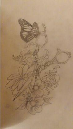 Scissors tattoo design