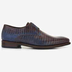 Brown lizard print men's lace-up shoe 14384/01 Floris van Bommel