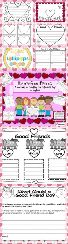 ($2.50) #valentinesday #friendship We are Good Friends:  A Mini Unit on Friendship for Valentines Day or Anytime This mini unit was designed to enable children to see good qualities in their friends and be respectful of each other. This is a packet of ac