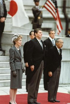 First Lady Nancy Reagan, President Ronald Reagan, and Emperor Showa (Hirohito), Tokyo, Japan, 9 Nov 1983