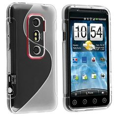 TPU Rubber Skin Case for HTC EVO 3D, Frost Clear White S Shape