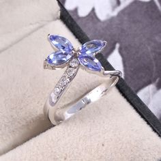 Diamond Tanzanite Butterfly ring, Custom made 925 Sterling silver ,Natural Diamond and Tanzanite ring, ring,Diamond ring by NabaGems on Etsy Tanzanite Stone, Tanzanite Ring, Diamond Wedding Rings, Diamond Rings, Wedding Anniversary Rings, Butterfly Ring, Silver Jewellery, Jewelry, Delicate Rings