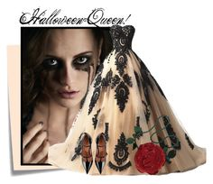 """""""...."""" by elenb ❤ liked on Polyvore featuring Post-It, RED Valentino, Emanuel Ungaro, Halloween, fab and queen"""