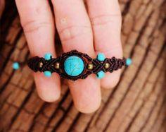 bracelet macramé quartz aqua marine'