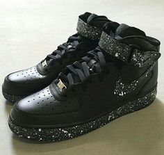 best service afb7b 000f0 New Custom Nike White Speckled Black Air Force 1 Mid