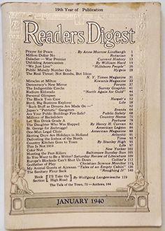 "JANUARY 1940 ""Reader's Digest"" - MILTON, WV - HOLLAND - GILBERT LaBINE - RADIUM"