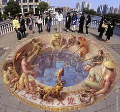 Street art 3D, optical illusion. Art by Kurt Wenner