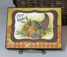 handmade Thanksgiving card: Give Thanks by pink_lady ... rich Fall colors ... gorgeous cornucopia ... colored pencils for the image ...