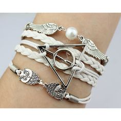 Silvery Harry potter Bracelet,Harry Potter Snitch and Owls Charm... ($5.99) ❤ liked on Polyvore featuring jewelry, bracelets, harry potter, accessories, leather bangles, leather jewelry, owl bangle, owl charm bracelet and adjustable macrame bracelet