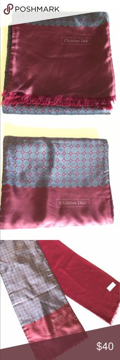 """Gentleman's vintage Christian Dior silk wool scarf Classic silk/wool Christina Dior reversible gentleman's scarf. 100% silk imported from Italy, 100% Medium weight wool imported from England. Length is 54"""". Christian Dior Accessories Scarves"""